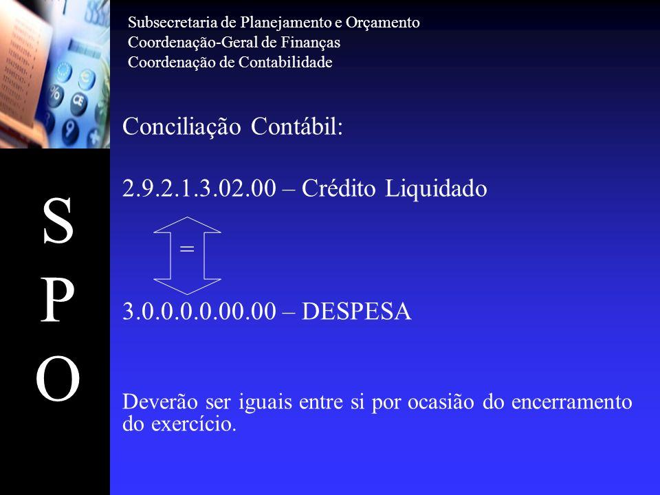 S P O Conciliação Contábil: 2.9.2.1.3.02.00 – Crédito Liquidado =