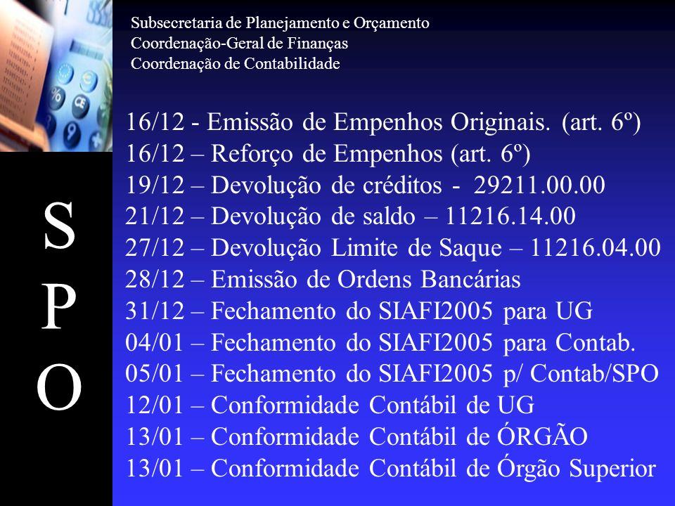 S P O 16/12 - Emissão de Empenhos Originais. (art. 6º)