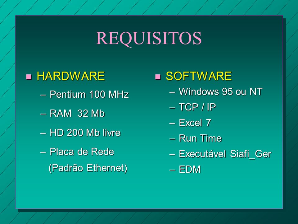 REQUISITOS HARDWARE SOFTWARE Pentium 100 MHz RAM 32 Mb HD 200 Mb livre