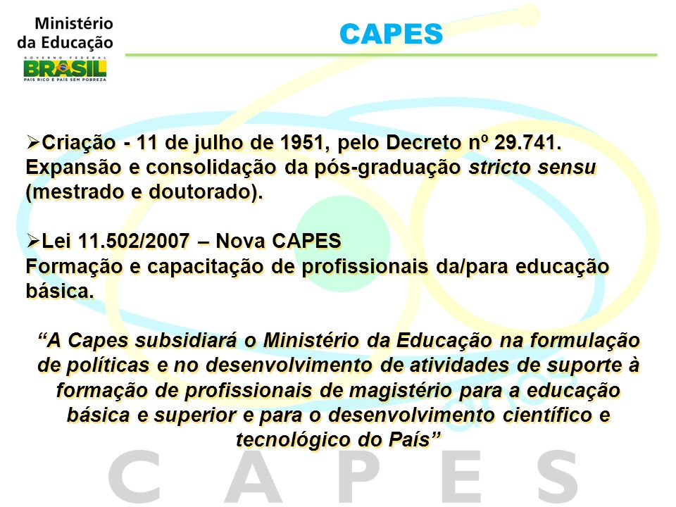 CAPES Criação - 11 de julho de 1951, pelo Decreto nº 29.741.