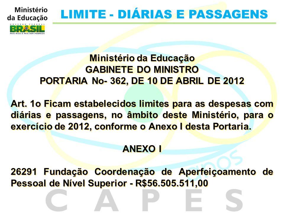 Ministério da Educação PORTARIA No- 362, DE 10 DE ABRIL DE 2012