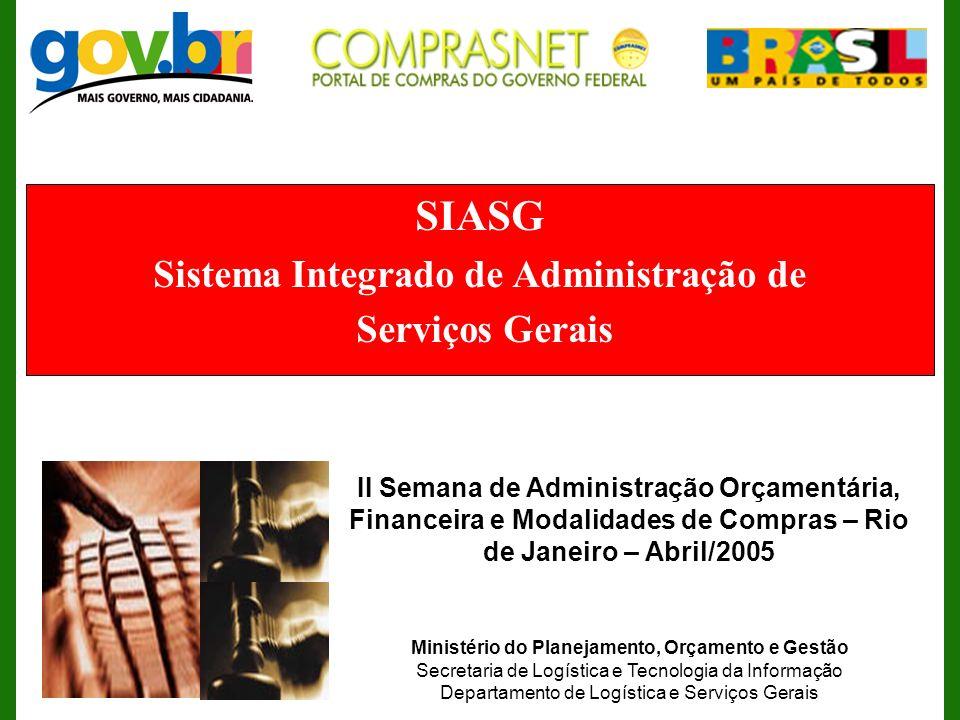SIASG Sistema Integrado de Administração de Serviços Gerais