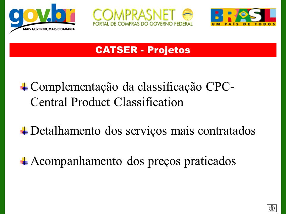 Complementação da classificação CPC- Central Product Classification