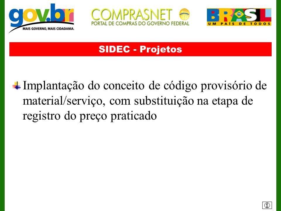 SIDEC - ProjetosImplantação do conceito de código provisório de material/serviço, com substituição na etapa de registro do preço praticado.