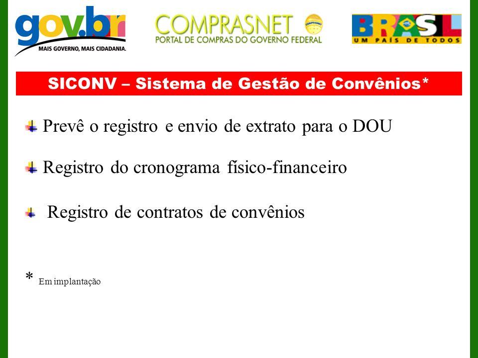SICONV – Sistema de Gestão de Convênios*