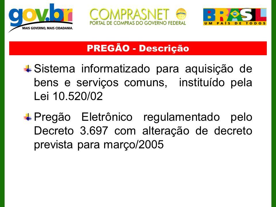 PREGÃO - DescriçãoSistema informatizado para aquisição de bens e serviços comuns, instituído pela Lei 10.520/02.