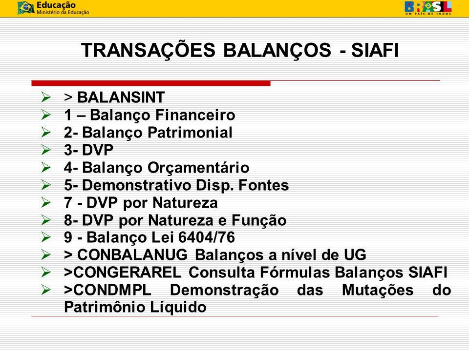 TRANSAÇÕES BALANÇOS - SIAFI