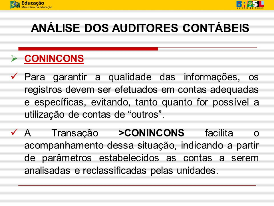 ANÁLISE DOS AUDITORES CONTÁBEIS