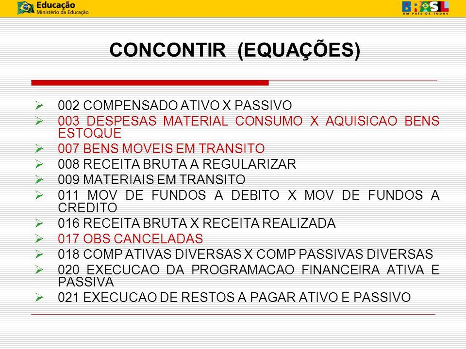 CONCONTIR (EQUAÇÕES) 002 COMPENSADO ATIVO X PASSIVO