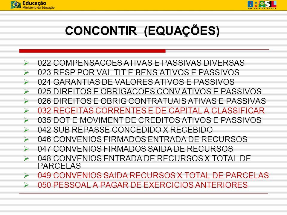 CONCONTIR (EQUAÇÕES) 022 COMPENSACOES ATIVAS E PASSIVAS DIVERSAS