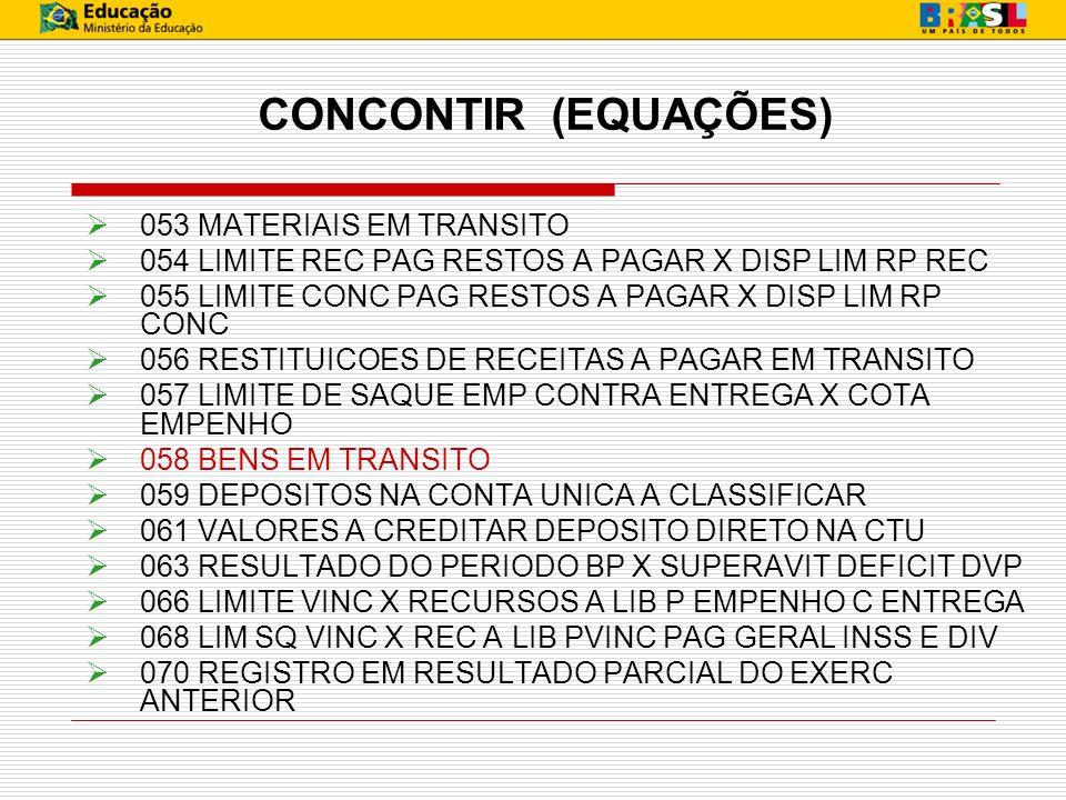 CONCONTIR (EQUAÇÕES) 053 MATERIAIS EM TRANSITO