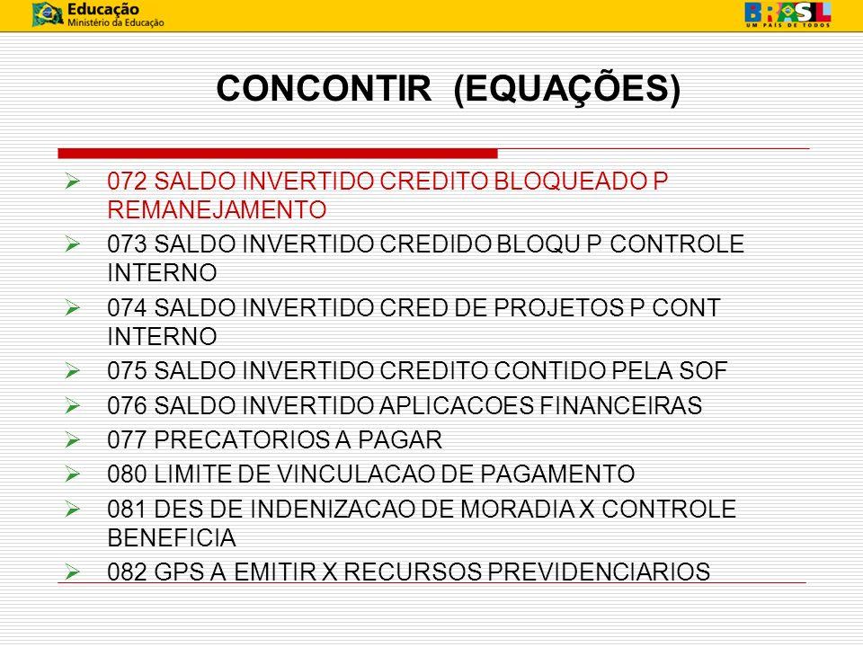 CONCONTIR (EQUAÇÕES) 072 SALDO INVERTIDO CREDITO BLOQUEADO P REMANEJAMENTO. 073 SALDO INVERTIDO CREDIDO BLOQU P CONTROLE INTERNO.