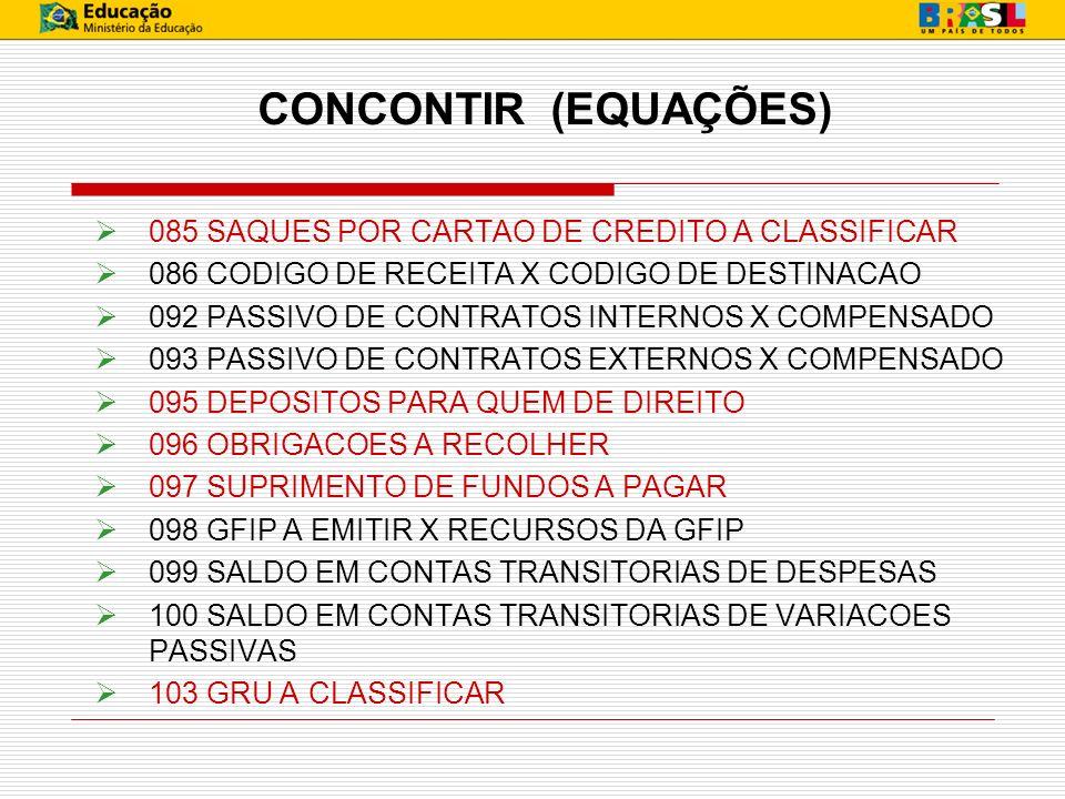 CONCONTIR (EQUAÇÕES) 085 SAQUES POR CARTAO DE CREDITO A CLASSIFICAR