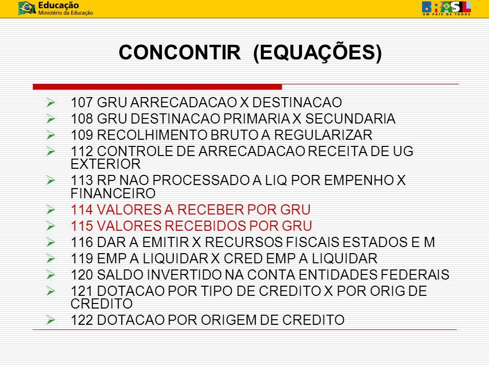 CONCONTIR (EQUAÇÕES) 107 GRU ARRECADACAO X DESTINACAO
