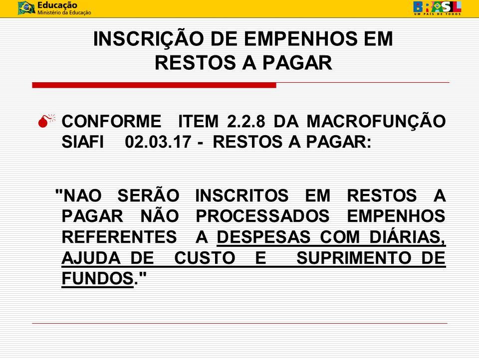 INSCRIÇÃO DE EMPENHOS EM RESTOS A PAGAR