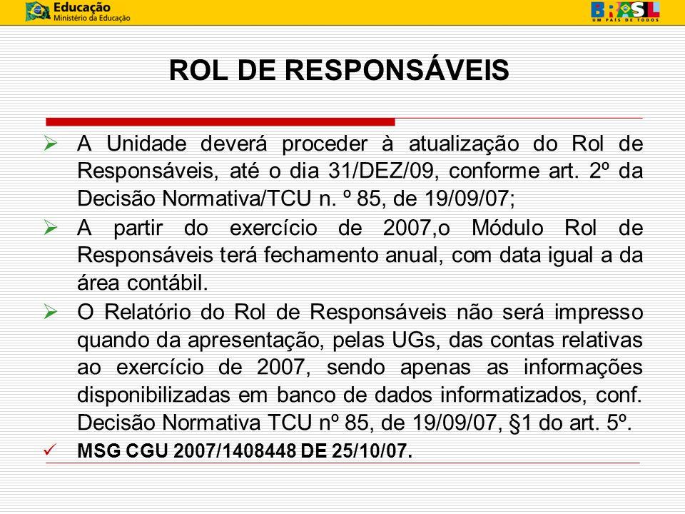 ROL DE RESPONSÁVEIS
