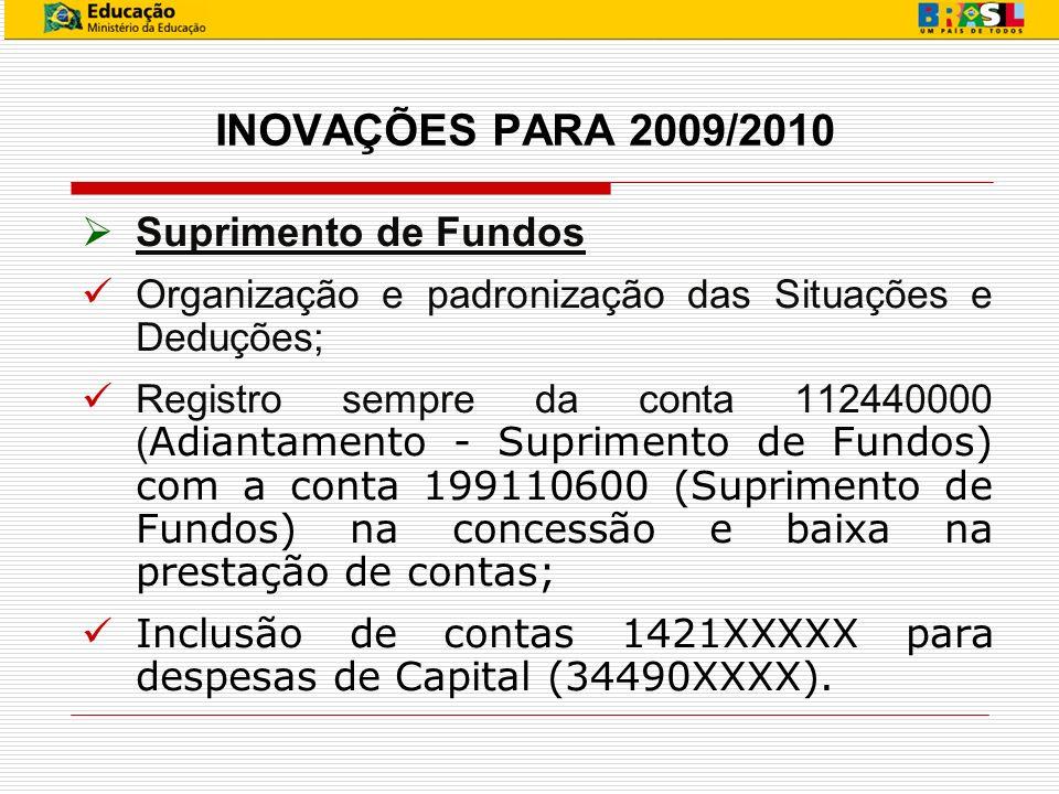 INOVAÇÕES PARA 2009/2010 Suprimento de Fundos