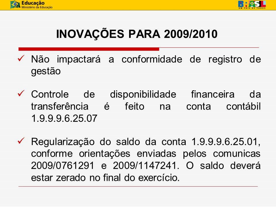 INOVAÇÕES PARA 2009/2010 Não impactará a conformidade de registro de gestão.