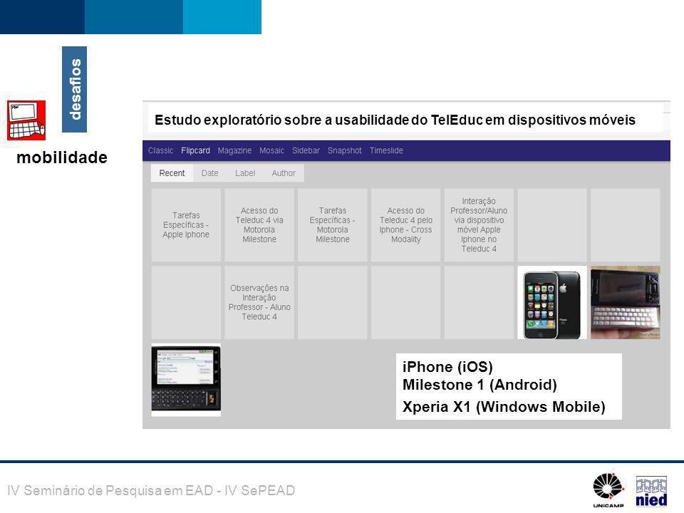 mobilidade desafios iPhone (iOS) Milestone 1 (Android)