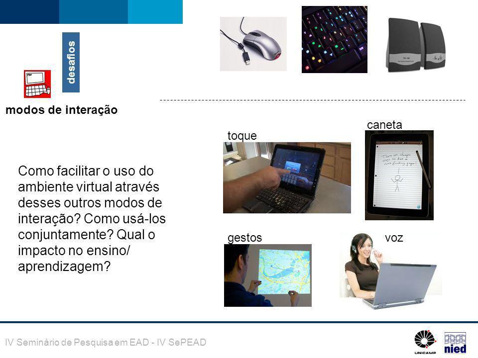 desafios modos de interação. toque. caneta. gestos. voz.