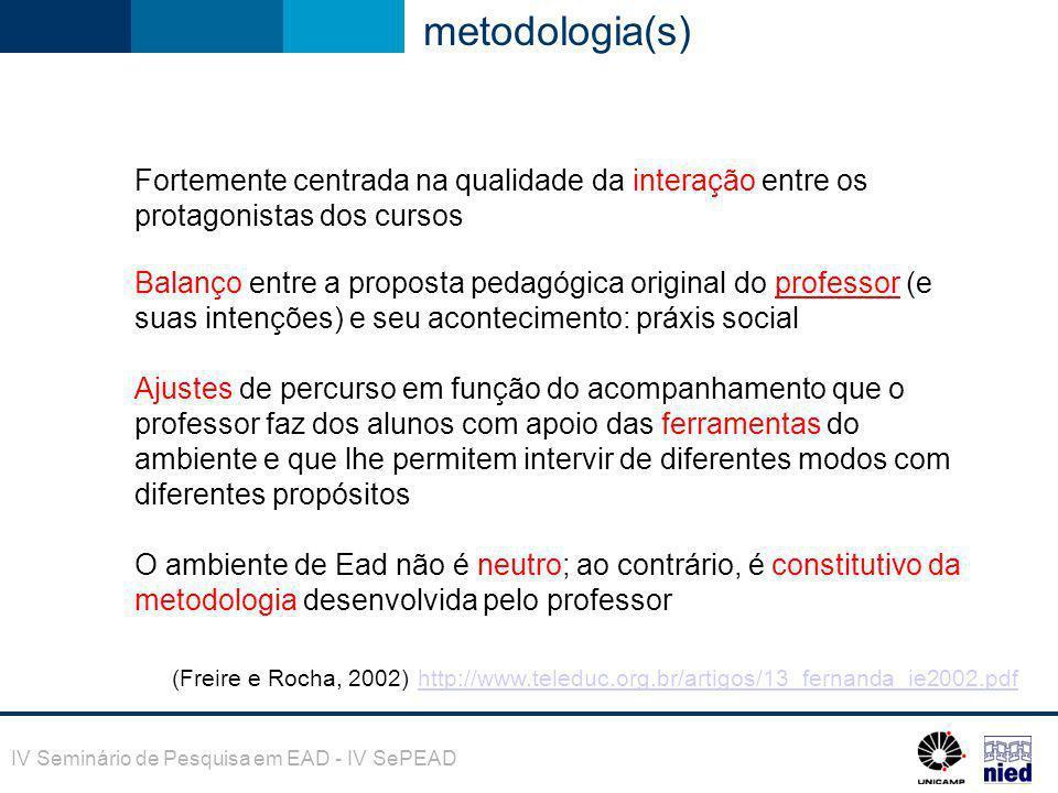 metodologia(s) Fortemente centrada na qualidade da interação entre os protagonistas dos cursos.