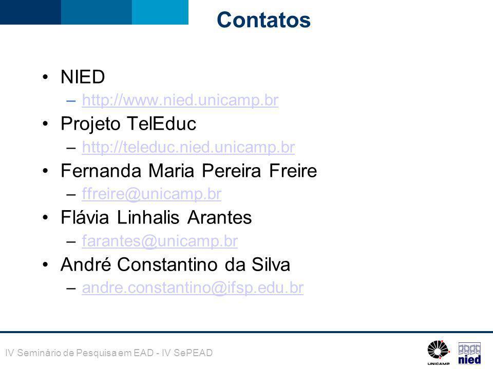Contatos NIED Projeto TelEduc Fernanda Maria Pereira Freire