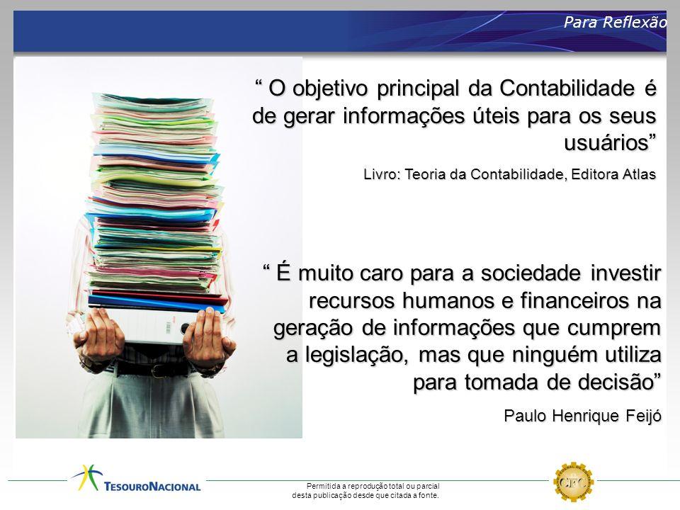 Para Reflexão O objetivo principal da Contabilidade é de gerar informações úteis para os seus usuários