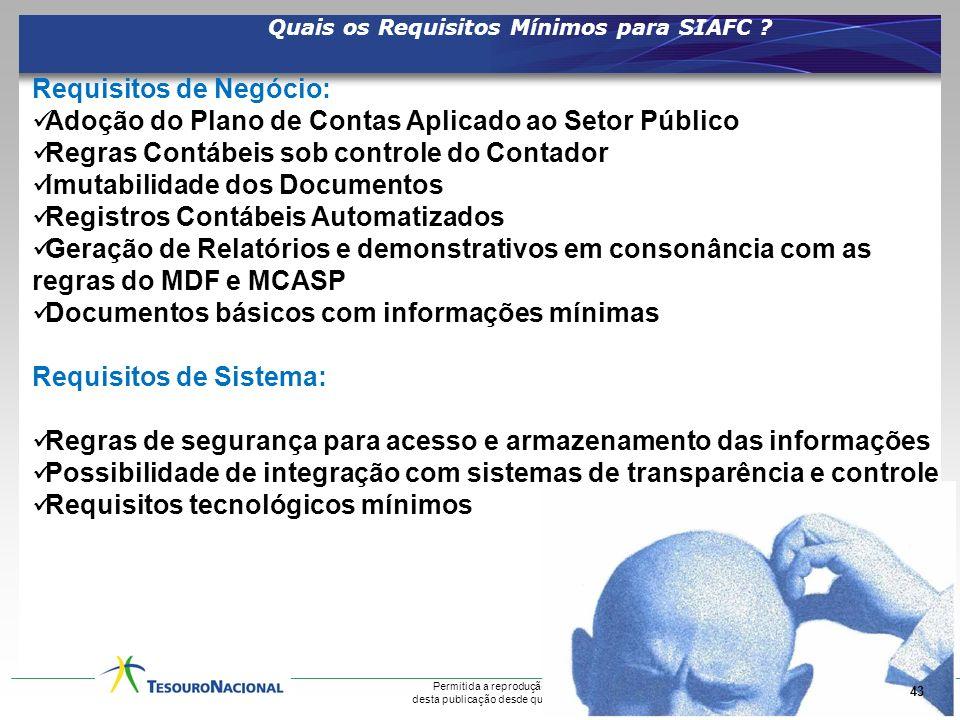 Quais os Requisitos Mínimos para SIAFC