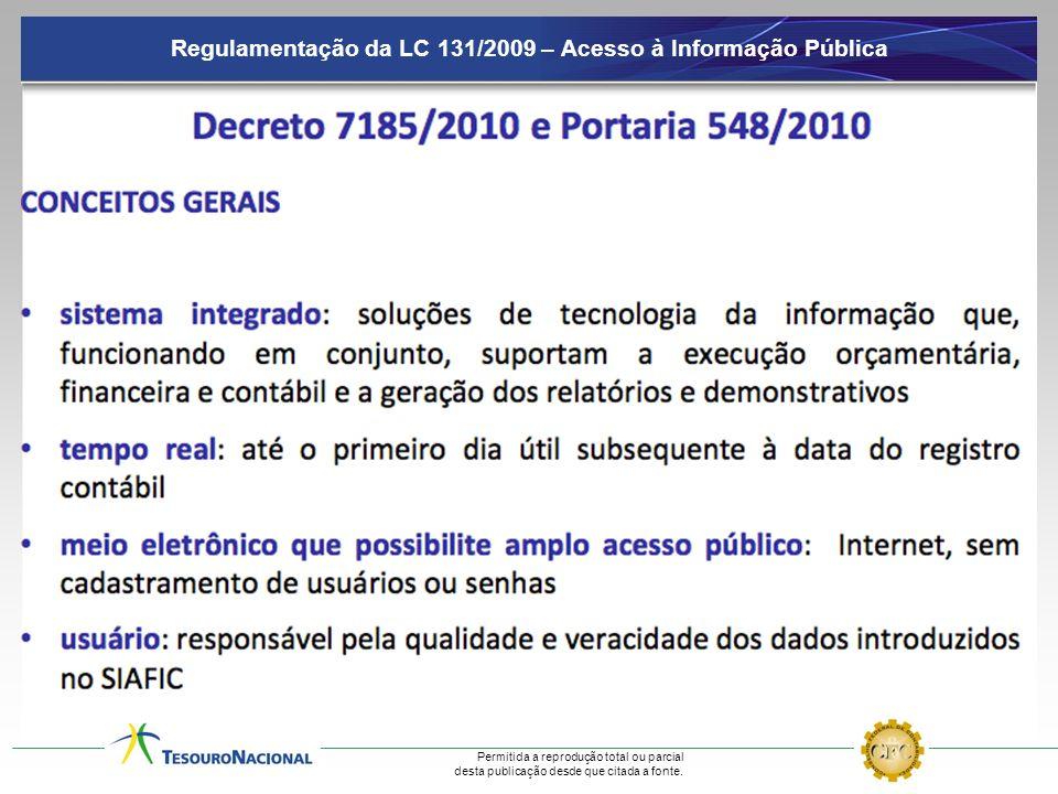 Regulamentação da LC 131/2009 – Acesso à Informação Pública