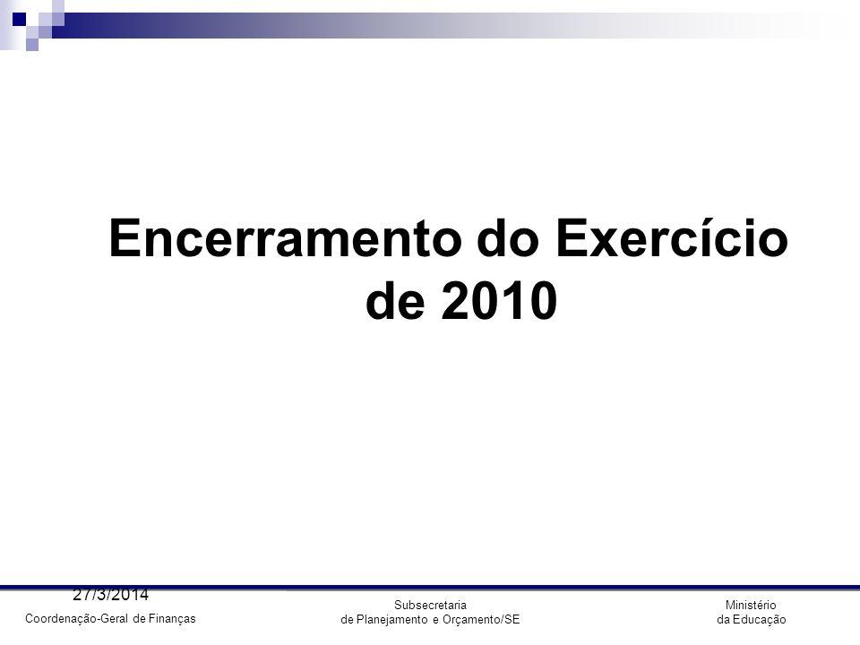 Encerramento do Exercício de 2010