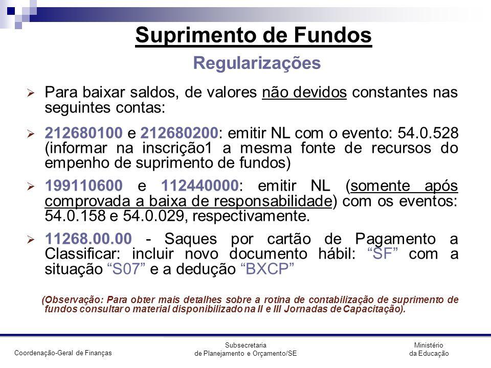 Suprimento de Fundos Regularizações