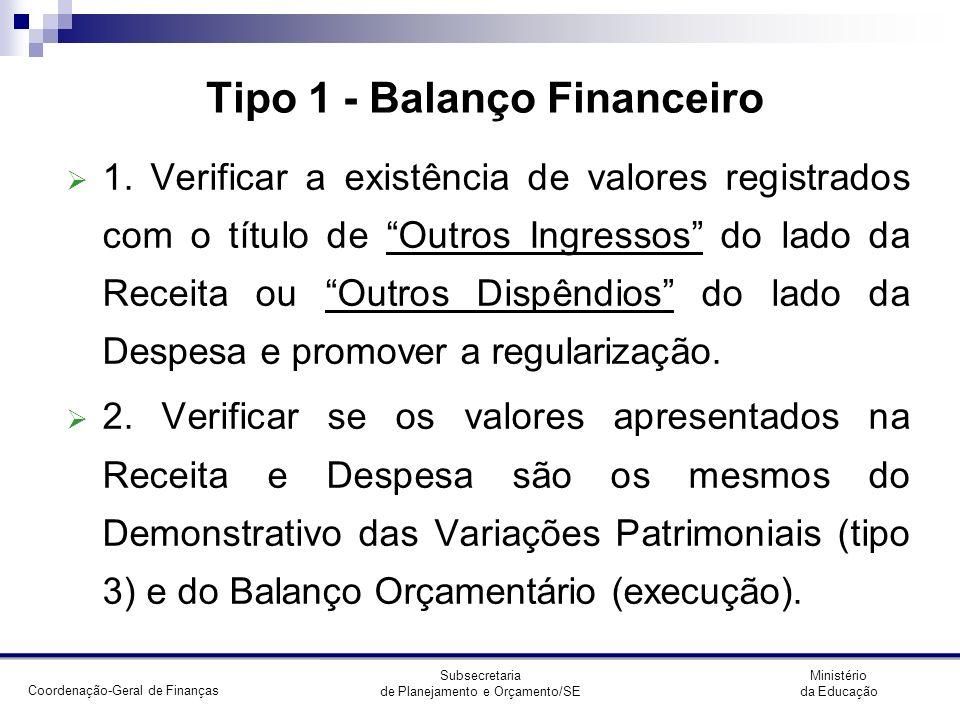 Tipo 1 - Balanço Financeiro