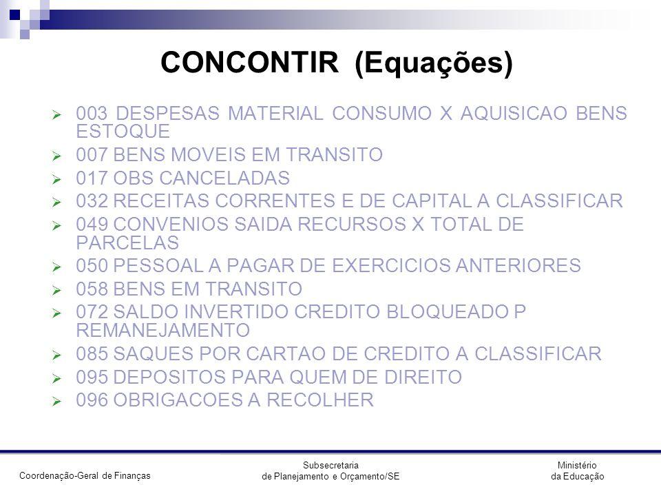 CONCONTIR (Equações) 003 DESPESAS MATERIAL CONSUMO X AQUISICAO BENS ESTOQUE. 007 BENS MOVEIS EM TRANSITO.