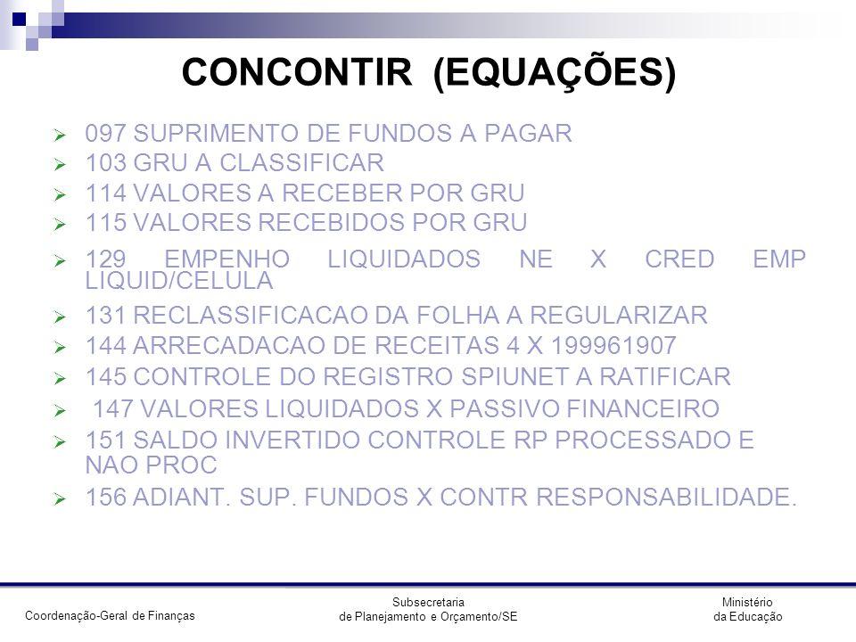 CONCONTIR (EQUAÇÕES) 097 SUPRIMENTO DE FUNDOS A PAGAR