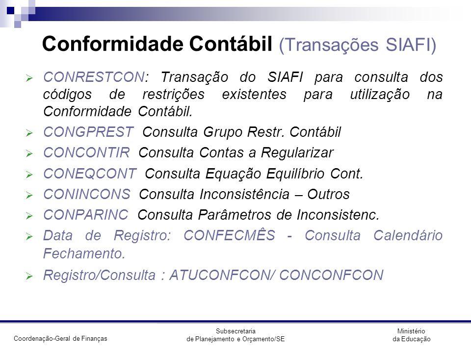 Conformidade Contábil (Transações SIAFI)