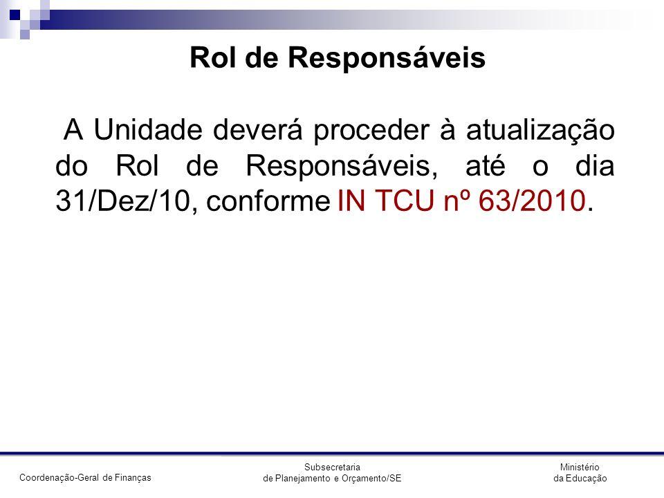 Rol de Responsáveis A Unidade deverá proceder à atualização do Rol de Responsáveis, até o dia 31/Dez/10, conforme IN TCU nº 63/2010.