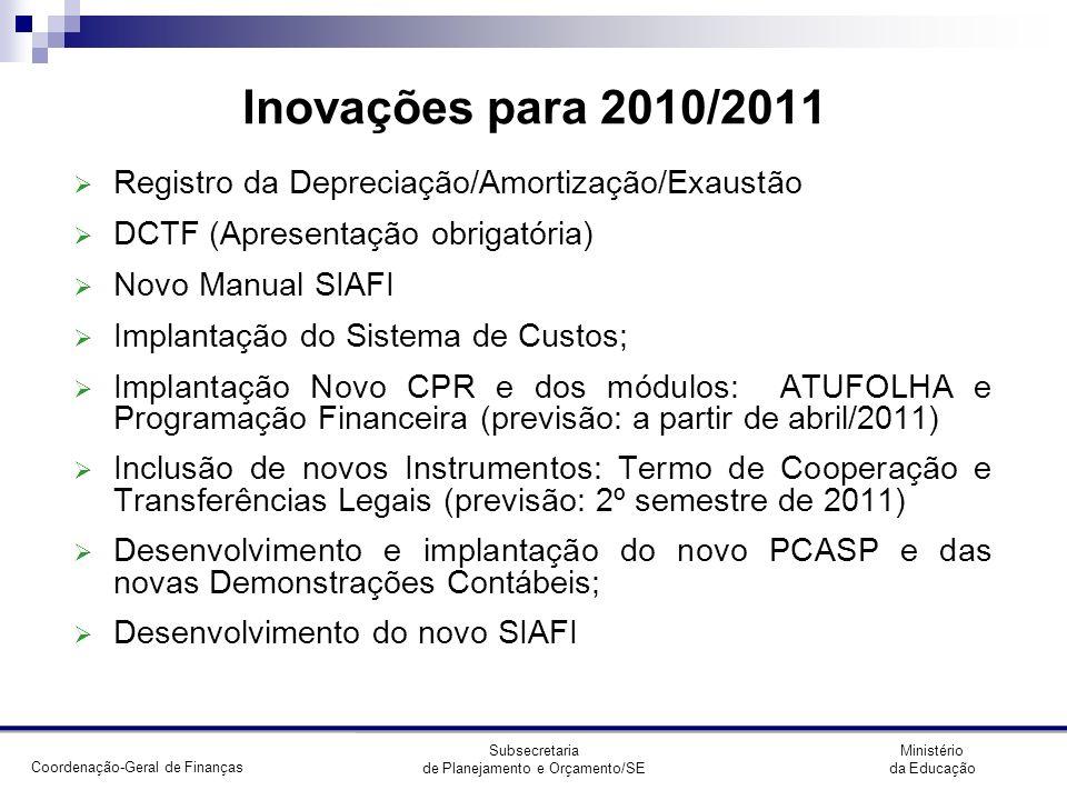 Inovações para 2010/2011 Registro da Depreciação/Amortização/Exaustão