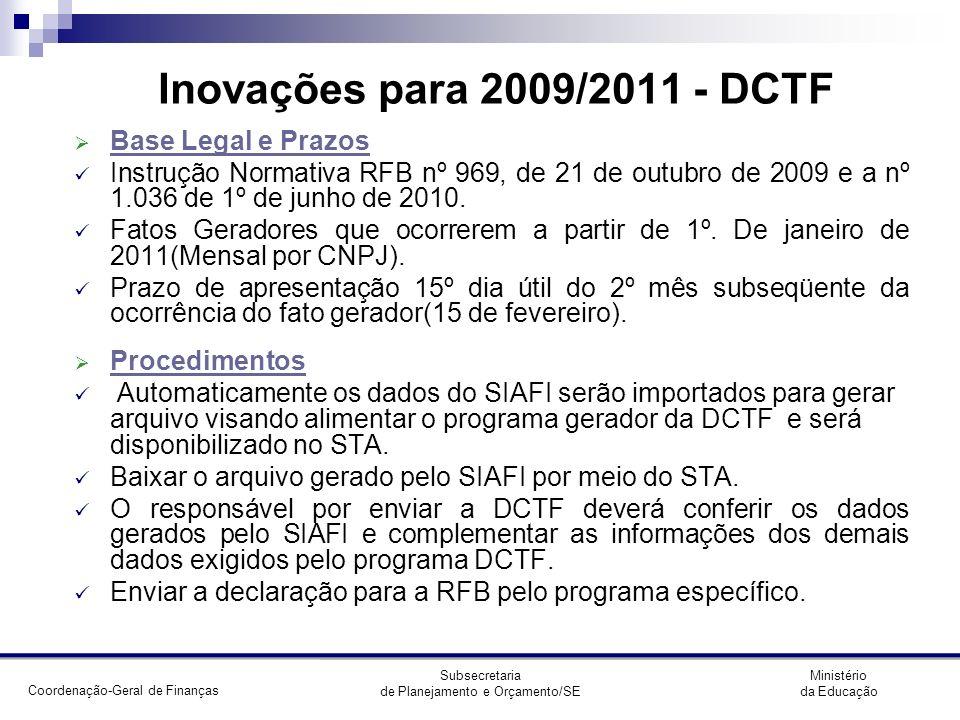Inovações para 2009/2011 - DCTF Base Legal e Prazos