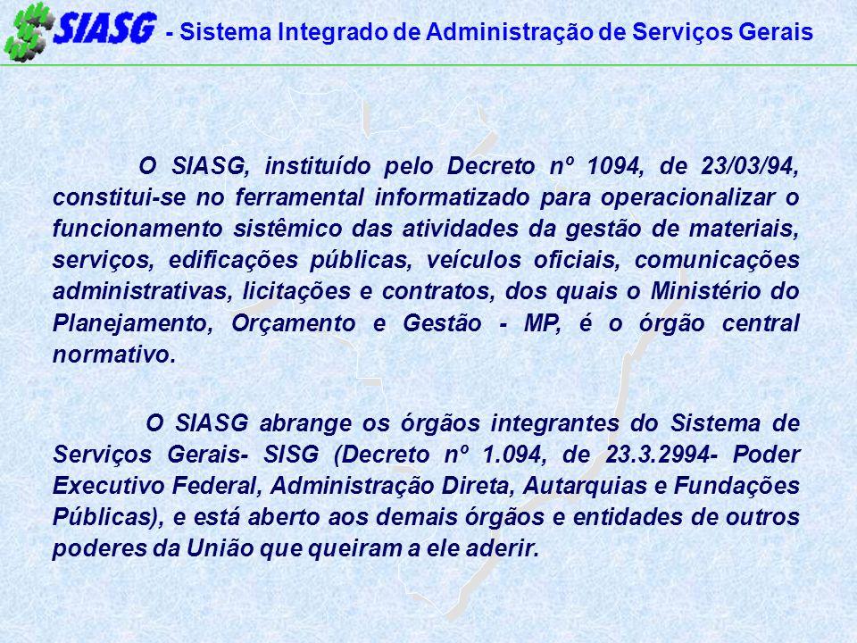 O SIASG, instituído pelo Decreto nº 1094, de 23/03/94, constitui-se no ferramental informatizado para operacionalizar o funcionamento sistêmico das atividades da gestão de materiais, serviços, edificações públicas, veículos oficiais, comunicações administrativas, licitações e contratos, dos quais o Ministério do Planejamento, Orçamento e Gestão - MP, é o órgão central normativo.