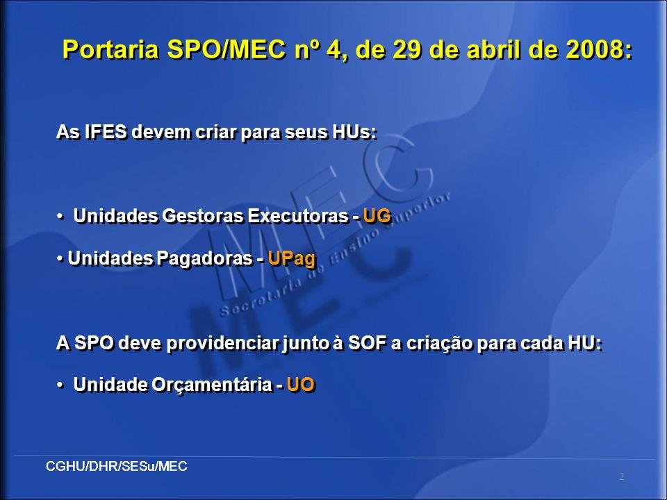 Portaria SPO/MEC nº 4, de 29 de abril de 2008: