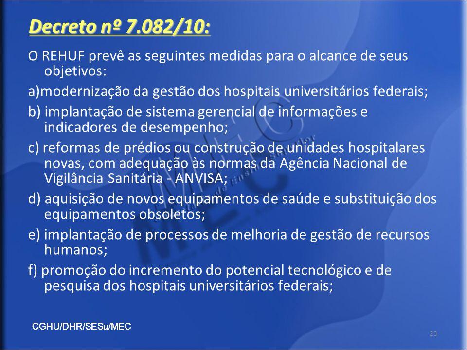 Decreto nº 7.082/10: O REHUF prevê as seguintes medidas para o alcance de seus objetivos: