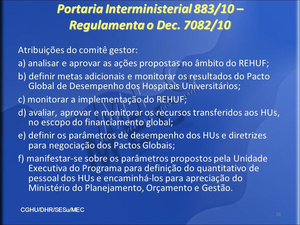 Portaria Interministerial 883/10 – Regulamenta o Dec. 7082/10