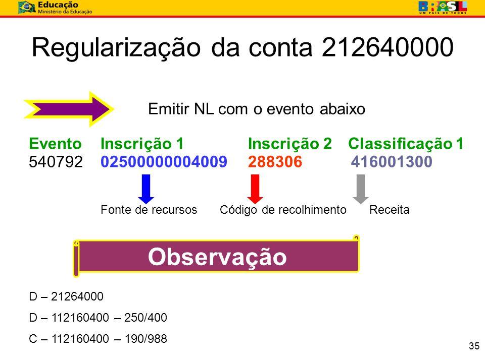 Regularização da conta 212640000