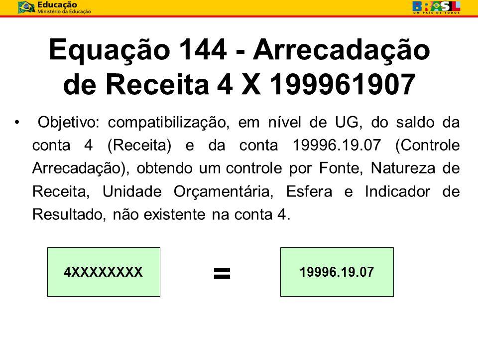 Equação 144 - Arrecadação de Receita 4 X 199961907