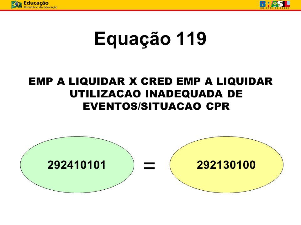 Equação 119 EMP A LIQUIDAR X CRED EMP A LIQUIDAR UTILIZACAO INADEQUADA DE EVENTOS/SITUACAO CPR.
