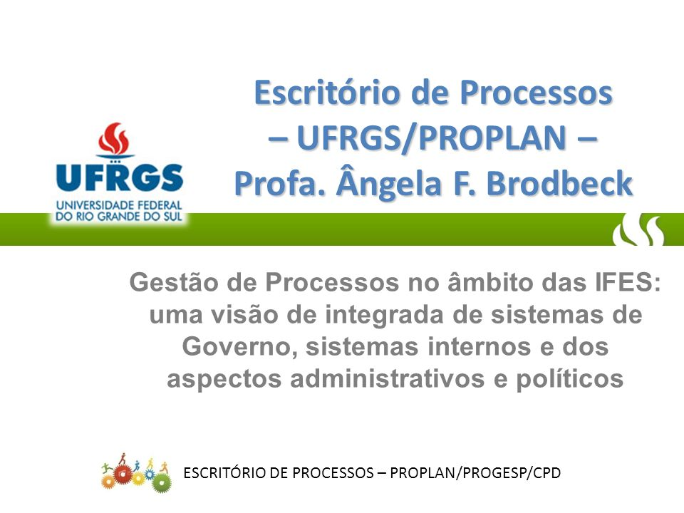 Escritório de Processos – UFRGS/PROPLAN – Profa. Ângela F. Brodbeck