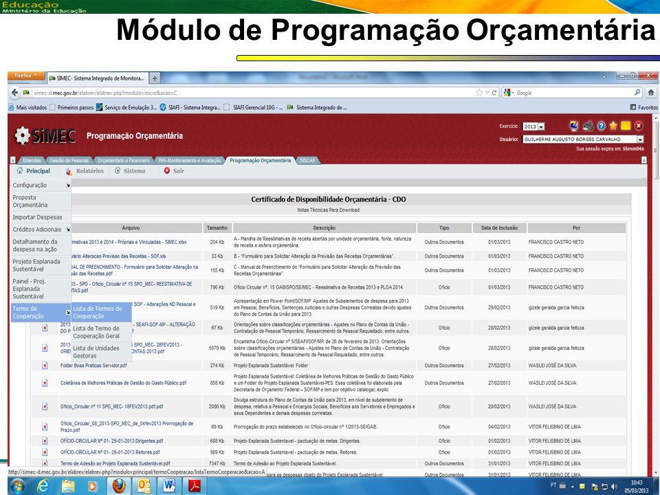 Módulo de Programação Orçamentária