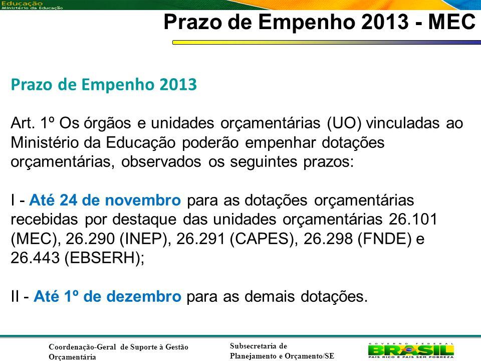 Prazo de Empenho 2013 - MEC Prazo de Empenho 2013