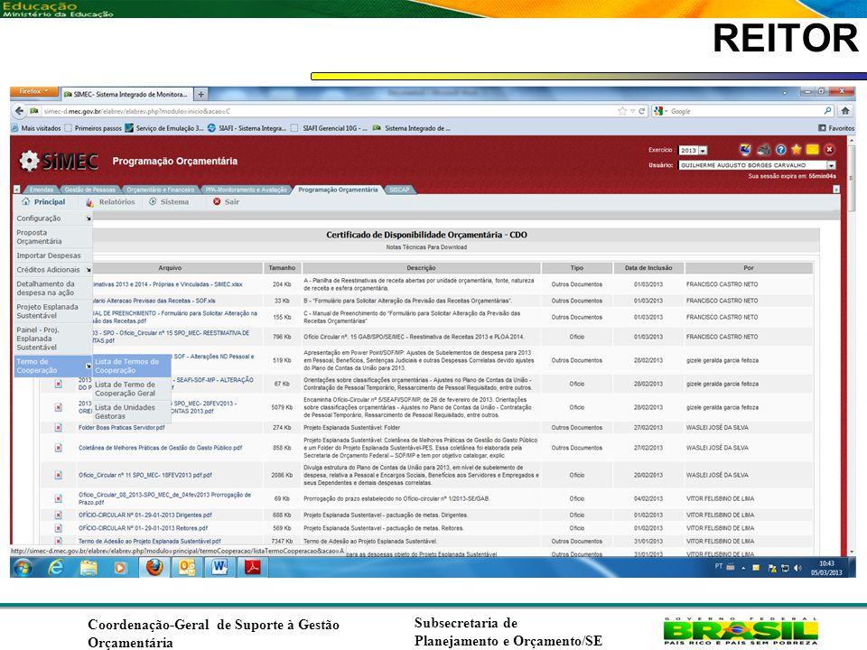 REITOR Coordenação-Geral de Suporte à Gestão Orçamentária