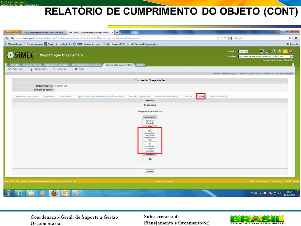 RELATÓRIO DE CUMPRIMENTO DO OBJETO (CONT)